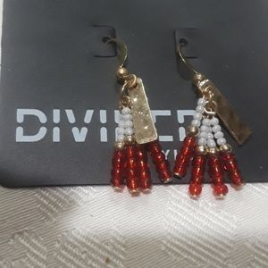 H&M earrings cute gold red white